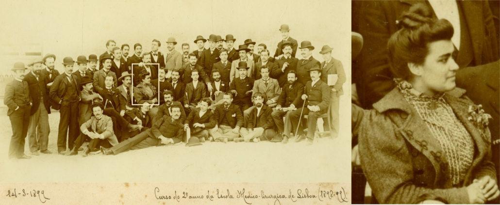 Curso do 2º ano da Escola Medico-Cirúrgica de Lisboa (1899). Carolina Beatriz Ângelo
